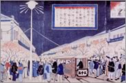 Woodblock print depicting an arc light in Ginza, Tokyo, in 1883.